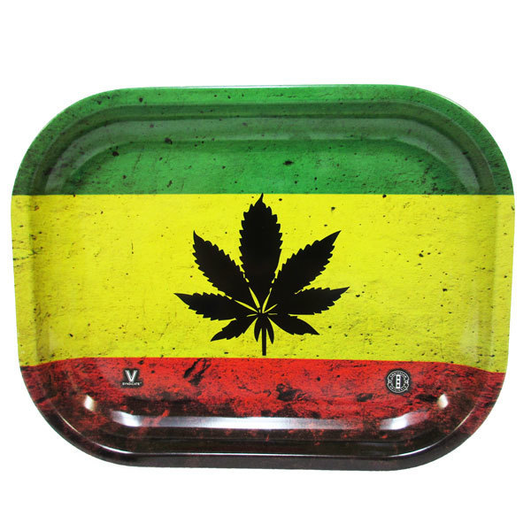 Rolling Tray Metal 180x140mm Rasta Leaf MH506